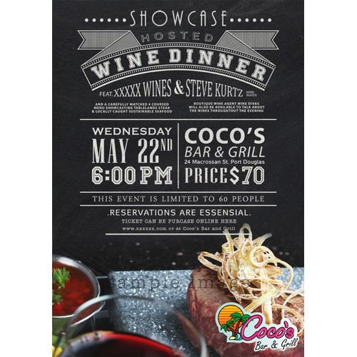 postcard or flyer for Coco's Bar & Grill