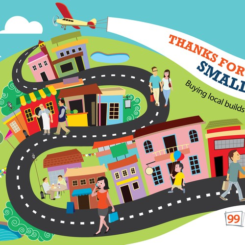 Design a fun, happy illustration of a small town for 99designs!