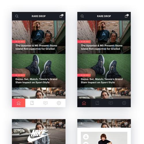 RareDrop mobile app design