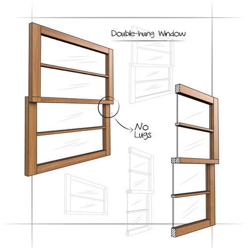 Wooden window frame illustration