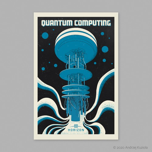 Quantum computer poster in vintage style