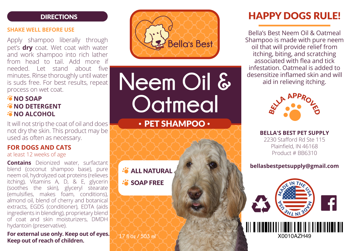 Bella's Best Neem Oil & Oatmeal Pet Shampoo product label