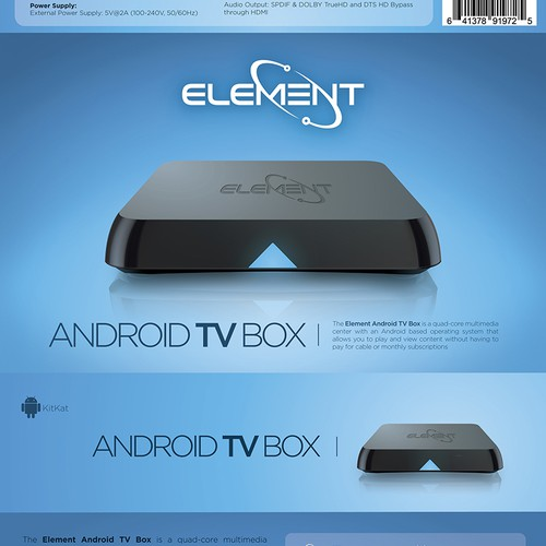 Create custom product packaging for Element Android TV Box