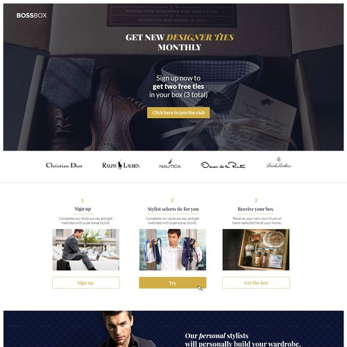 Help create a landing page for a men's tie club.