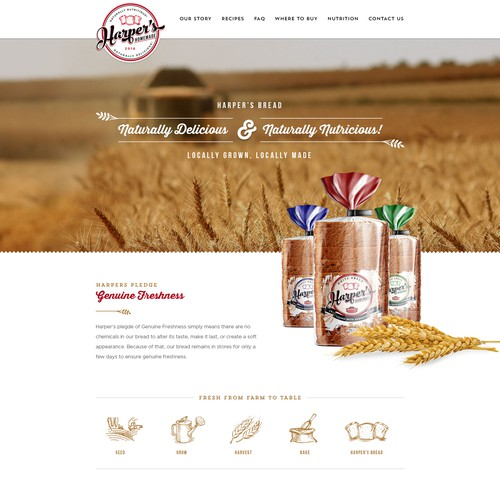 Webdesign for Harper's Homemade Bread