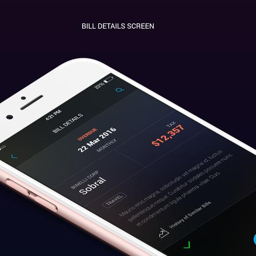 Dark theme UI for bill organizer app