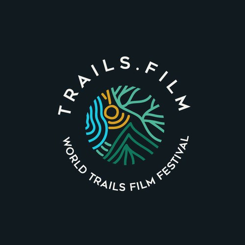 Linear logo concept for TRAILS.FILM Festival - a project of the World Trails Network