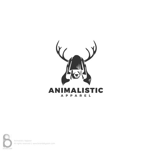 Hooded Deer logo concept for Animalistic Apparel