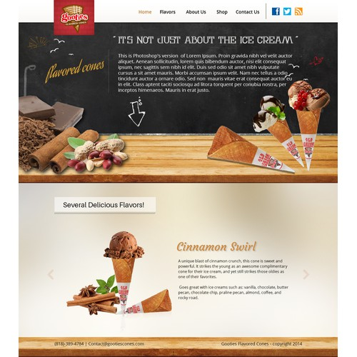 Create a modern and cool website for Gooties Cones