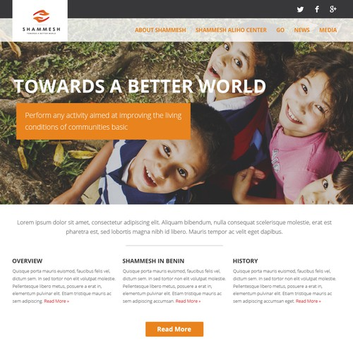 Create the Responsive Web Design for the future website of the NGO SHAMMESH