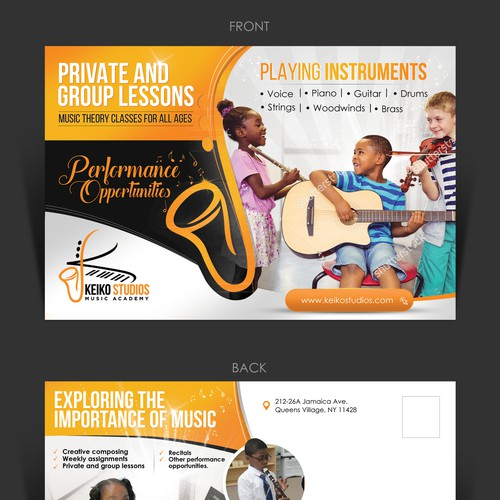 Creative post card concept for music school