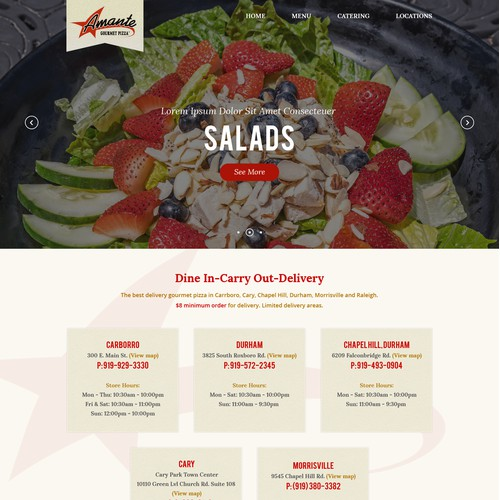 Web Design For Amante Pizza