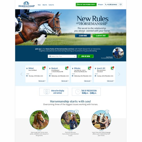 Landing page design for horsemanship Institute.