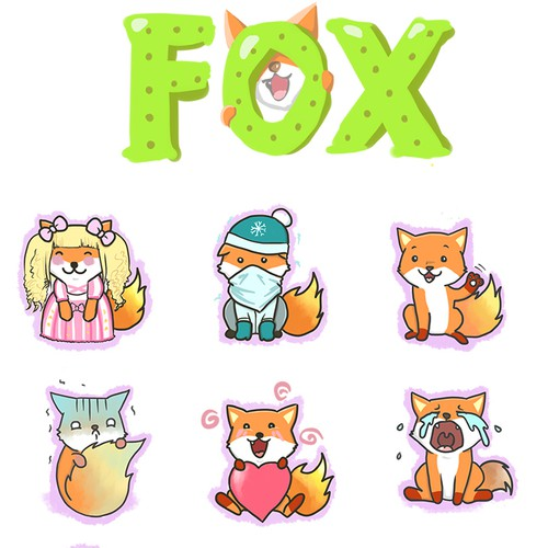 "FUNNY ""FOX"" STICKER PACK FOR A CHAT APP!"