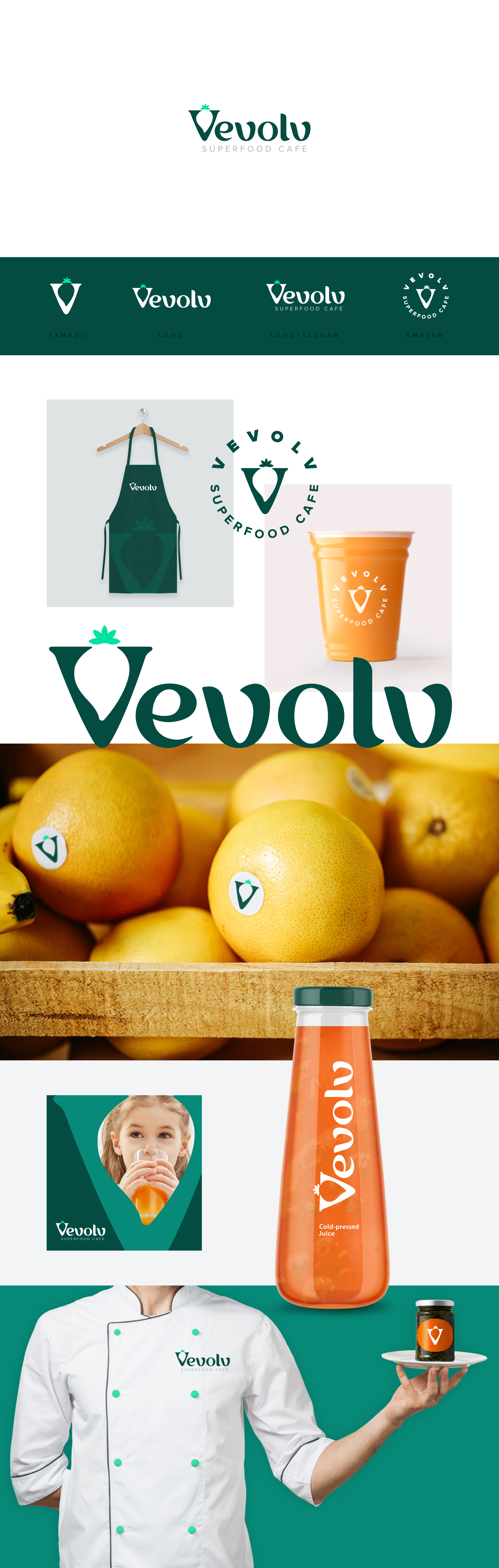 Vevolv : Superfood Cafe Logo (retail, bowl, cold pressed juices, oats and no bake pastries)