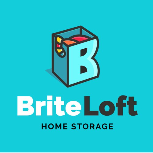 Create a vibrant logo for BriteLoft Home Storage