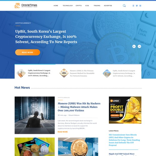 Homepage for cryto currencies daily news company