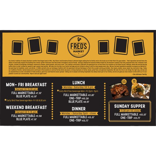 Placemat Menu for Fred's Market Restaurant