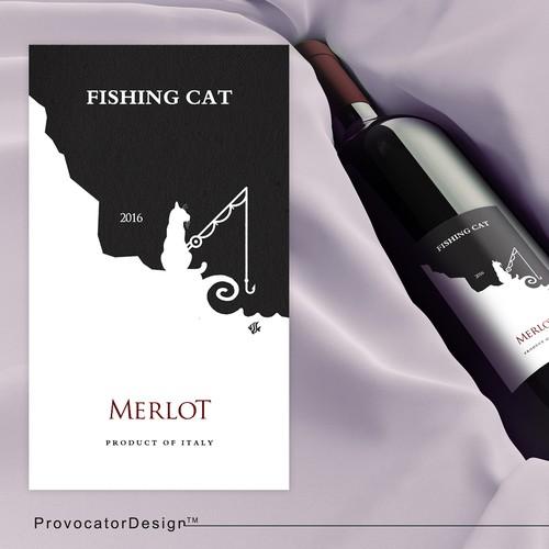 Wine Label Fishing Cat