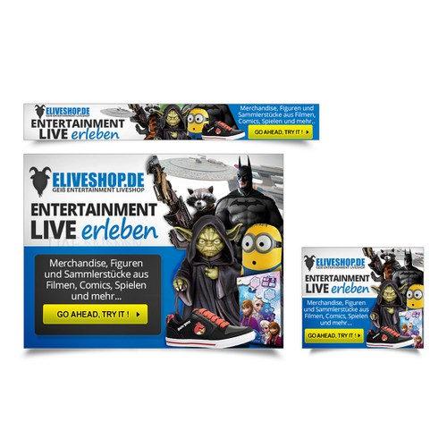 Advertising banners for Online Shop Merchandise and Figures