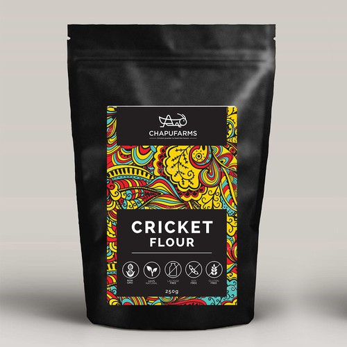 Cricket flour and energy bar labels