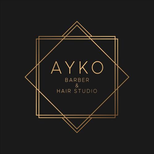 Luxury barber/hair salon logo with geometric theme
