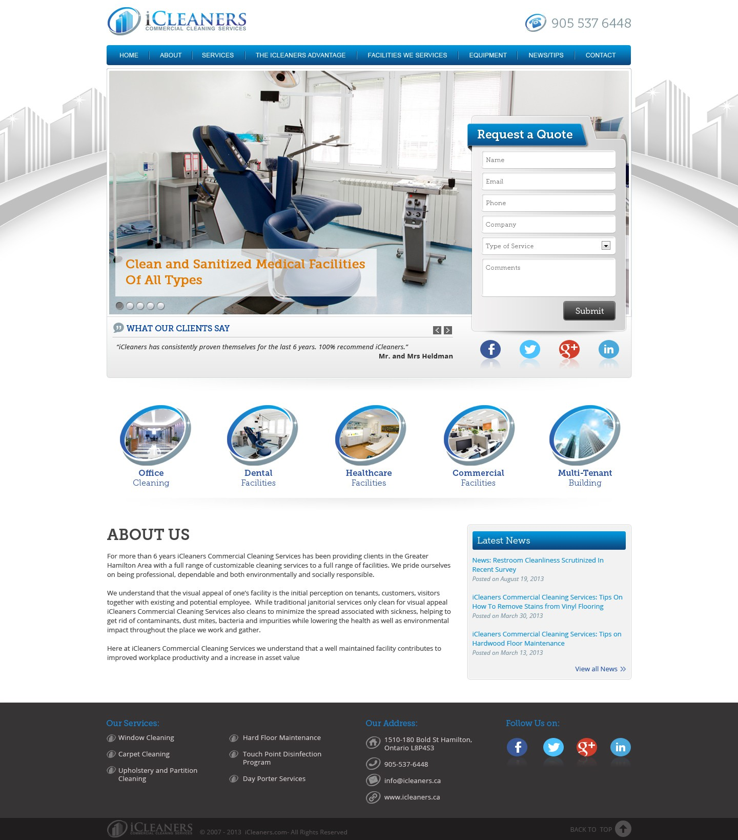 website design for iCleaners Commercial Cleaning Services