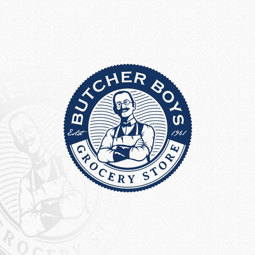 Old fashioned logo for The Butcher Boys, grocery store