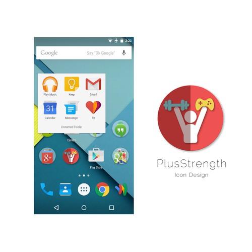 Create a gamer-fitness app Icon for PlusStrength