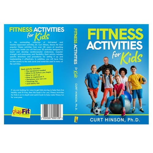 a fun and colorful book cover for a fitness activity book geared to school teachers