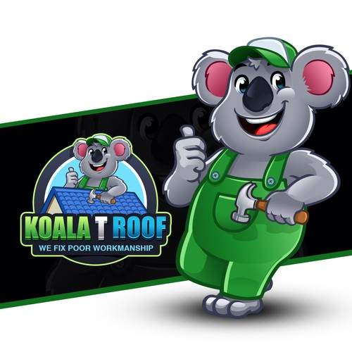 Lovable Koala Logo Mascot for roofing contractors specializing in roof repairs and replacements