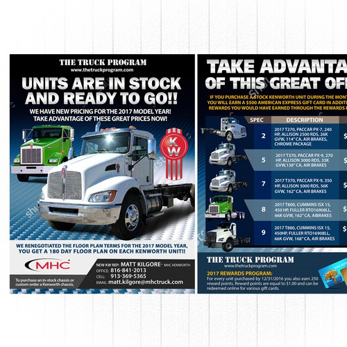Double Sided flyer for Kenworth
