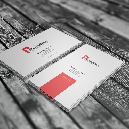 Logo and business card for PlusOne