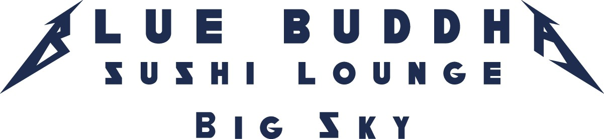 Logo for Blue Buddha Sushi Lounge along with some T-shirt designs to go with it.