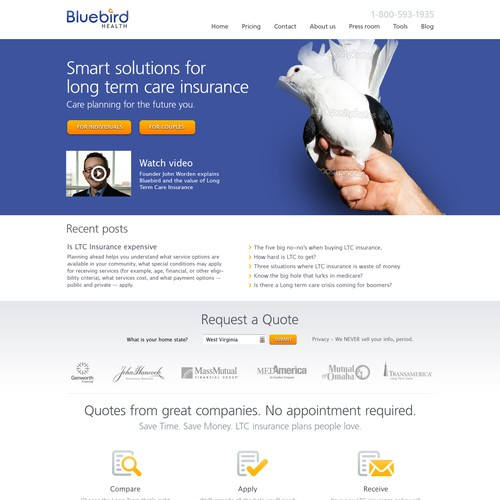 Homepage design for Bluebird Health