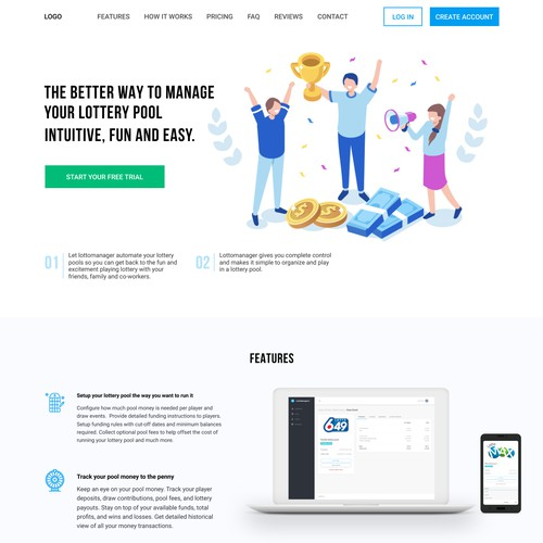 Home page design for lottomanager.io