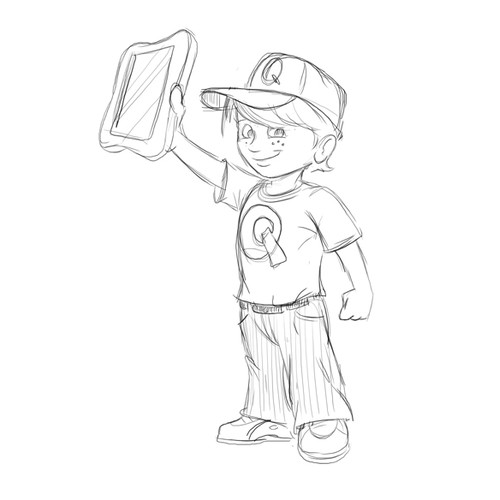 Super Hero Kid Logo Sketch