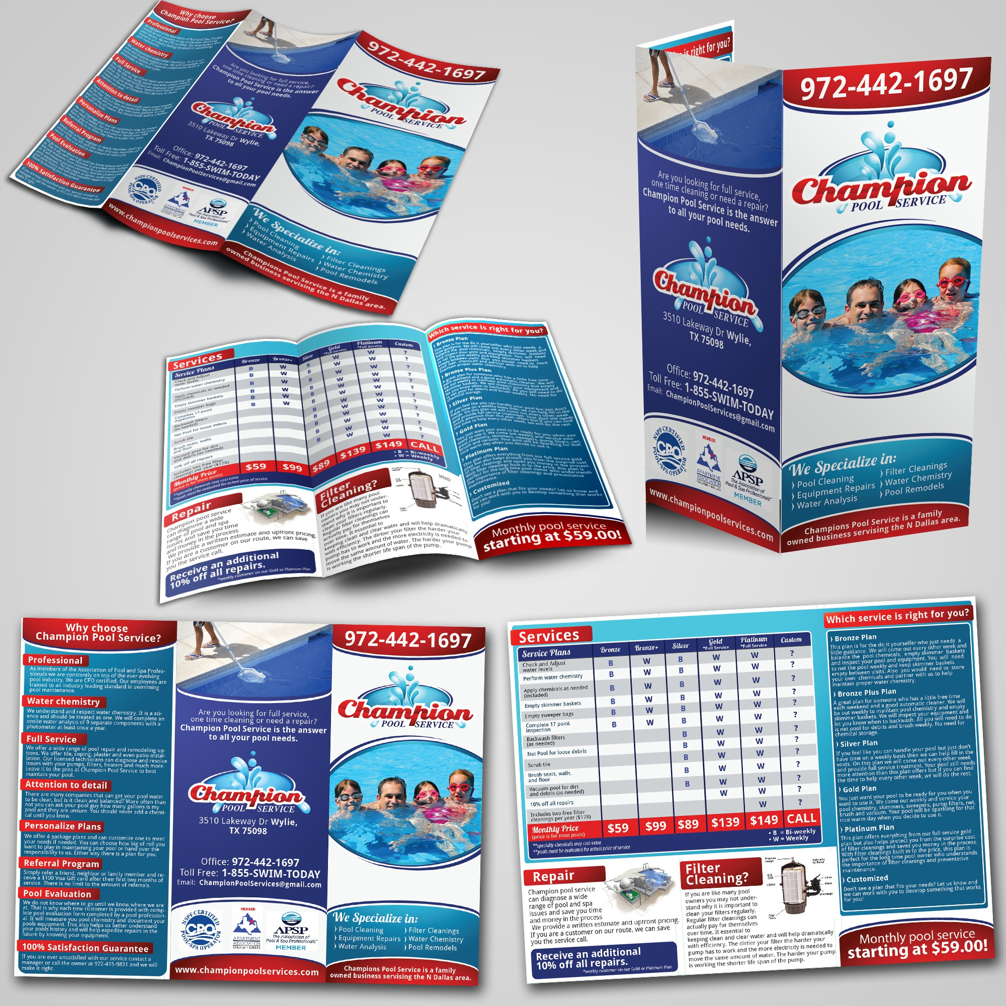 Help Champion Pool Service with a new print or packaging design