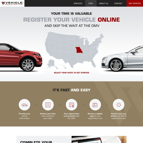 Vehicle Registration Home page design