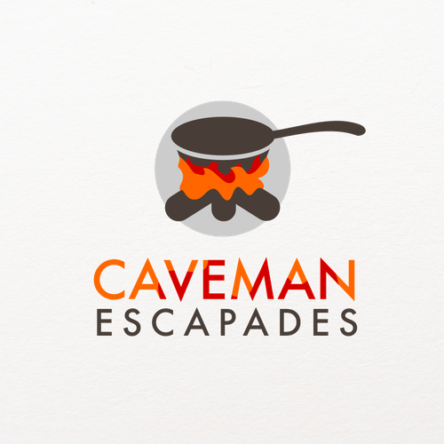 Create a logo about adventures in cooking for Caveman Escapades