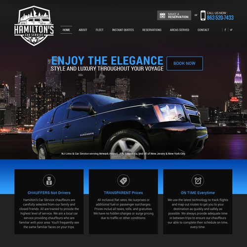 Dark Theme website design for Limo/Car Service