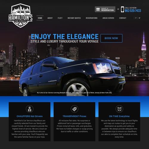 Dark Theme website design for Limo/Car Service