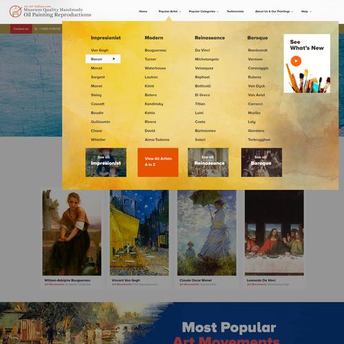 art gallery menu drodp down