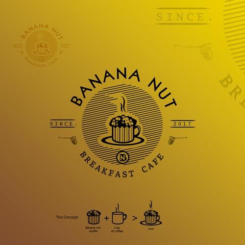 logo for breakfast cafe . BANANA NUT