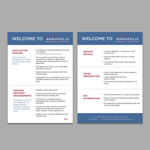 Design a simple information card for a Property Management company