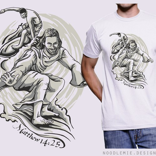 Create a current, hip, t-shirt design with Jesus surfing barefoot.