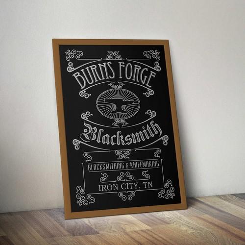 Vintage 800's signage design for blacksmith