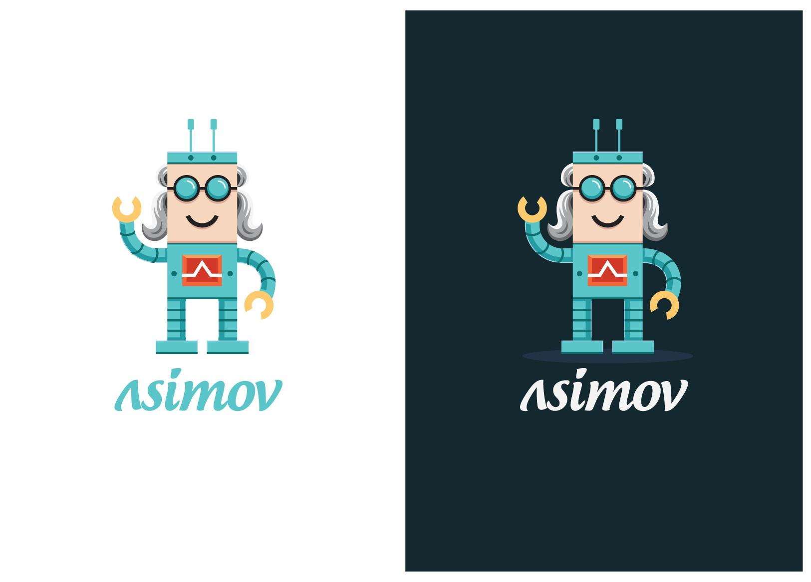 Create a fun friendly robot logo for the Asimov project