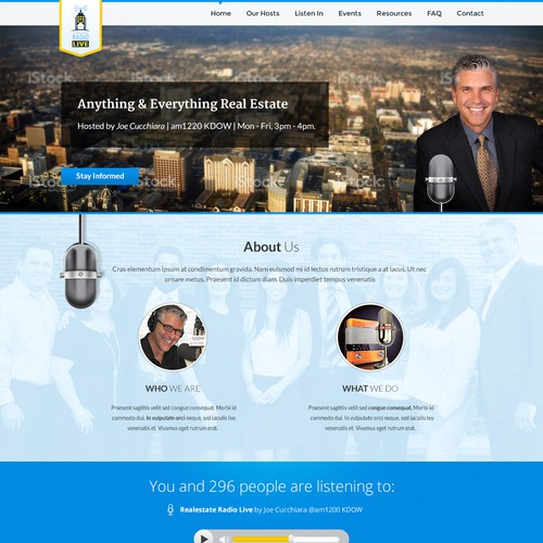 Home Page Design for Real Estate Radio