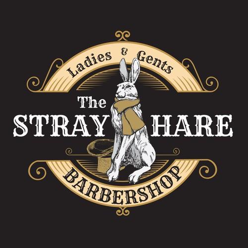 Vintage, pub like barbershop with Hare Illustration